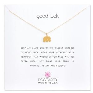 DOGEARED gold dipped elephant necklace good luck